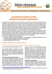 La promotion de la résilience au Sahel : changement d'approche ou nouvelle mode?