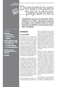 Capitalisation du processus d'évolution institutionnelle de la FAPAL, organisation paysanne du Sénégal : d'une réflexion interne au travers d'un bilan à la définition d'un document d'orientation stratégique