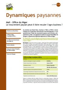 Mali – Office du Niger : Le mouvement paysan peut-il faire reculer l'agro business ?