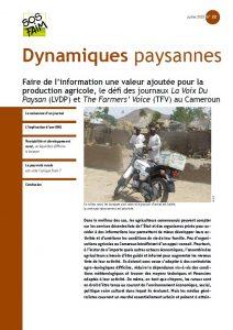 Faire de l'information une valeur ajoutée pour la production agricole, le défi des journaux La Voix Du Paysan (LVDP) et The Farmers' Voice (TFV) au Cameroun