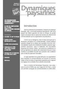Les organisations paysannes, opérateurs commerciaux? Le cas de l'implication de la FAPAL dans la filière arachide au Sénégal.
