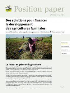 Position paper – Des solutions pour financer le développement des agricultures familiales