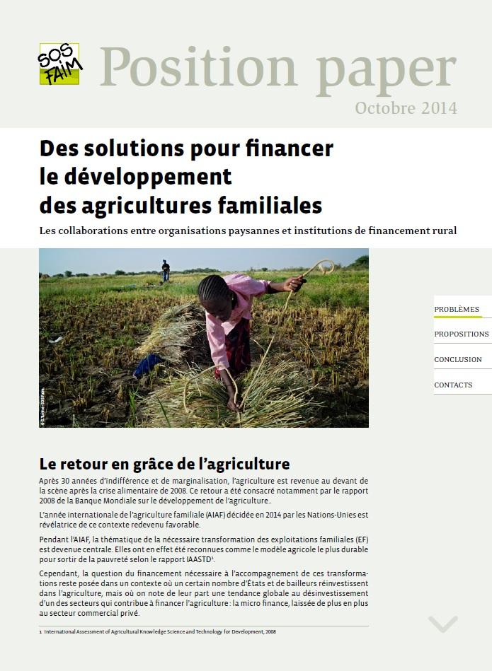 Nouveau : une série de documents dans lesquels SOS Faim prend position