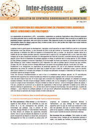 La participation des organisations de producteurs agricoles ouest-africaines aux politiques