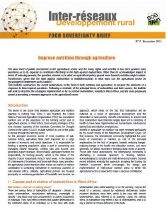 Improve nutrition through agriculture
