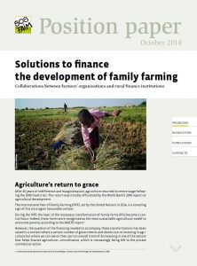 Solutions to finance the development of family farming