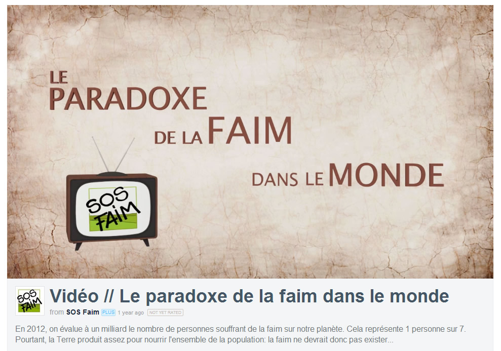 VIDEO « Le paradoxe de la faim »